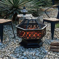 Foyer Extérieur Hexagonal Bbq Firepit Brazier Garden Stove Patio Heater Brazier