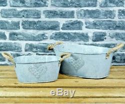 Français Style Vintage De Zinc De Jardin En Métal Planteur Trough Petit Pot Plante Conteneur