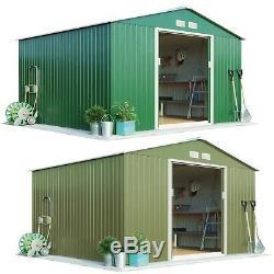 Garden Apex Roof Metal Hangar Waltons De Rangement Extérieur Pour Portes Coulissantes 9.1'x8.4 '- Neuf