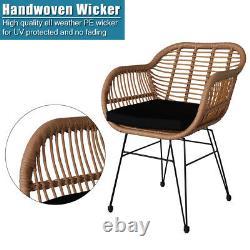 Garden Bistro Patio Meubles Set Table & Chaises Outdoor Indoor Steel Rattan