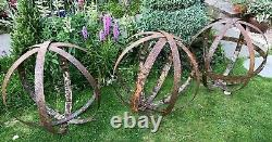Garden Metal Sphere Sculpture Reclaimed Rusty Whisky Barrel Cerceau Anneau 55-65cm