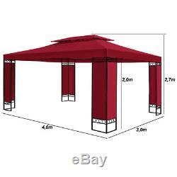 Gazebo De Jardin 3x4m Chapiteau Tente De Réception Bbq Cadre Extérieur En Acier Pour Patio, Grand
