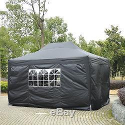Gazebo De Jardin De 4,5 X 3m Robuste Pop Up Chapiteau Chapiteau De Mariage Noir