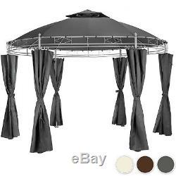Gazebo De Luxe Jardin Rond Ø 350cm Tente De Fête Avec Rideaux Latéraux Extérieur