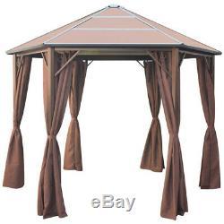 Gazebo Durable Avec Abri De Jardin Rideau Tente Canopy Brown Aluminium 2 Tailles