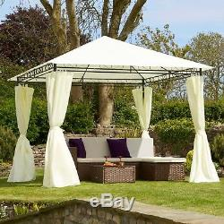 Gazebo En Métal Pavilion Chapiteau Shelter Cream Roof & Curtains 3x3m Garden Life