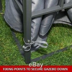 Gazebo Jardin Gazebo 3x4 Mtr Gris Totalement Étanche Auvent Doublé De Pvc