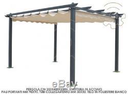 Gazebo Pergola Bâche Rétractable Écru 3x4 Mt Jardin Extérieur Nouvelle Version
