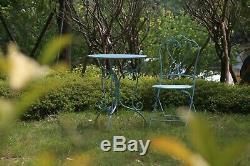 Glamhaus Garden Bistro Set Meubles En Métal Patio Balcon 3 Pièces Pliable