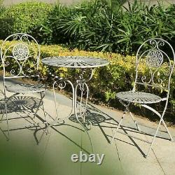 Glamhaus Metal Garden Bistro Set Patio Meubles D'extérieur Chaises De Table 3 Pièces