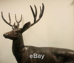 Grand Cerf Cerf Effet Bronze Métal Grandeur Nature Jardin Statue Sculpture