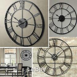 Grand Classique Vintage Cast 40cm Fer Forgé Jardin Mural Horloge D'extérieur