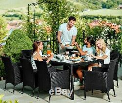 Grand Ensemble De Table À Manger Chaises De Jardin En Rotin Avec Chaises En Rotin De Jardin Et Coussins