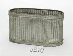 Grand Ovale Vintage Métal Galvanisé Barrel Planters Bain Plante Fleur Pot De Jardin