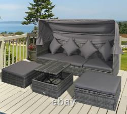 Grand Sofa De Rotin Ensemble Jardin Patio Meubles Wicker Coffee Table Day Bed Canopy