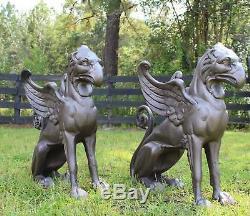 Grandes Statues Gargoyle Griffin En Métal Pour Entrée D'allée Ou Décor Dans Le Jardin