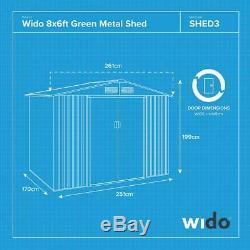Green Garden Métal Shed Panneau De L'acier À Outils Rangement Extérieur Vélo 4 Tailles Wido
