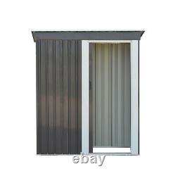 Grey Metal Garden Shed 3ft X 5ft Pent Roof Outdoor Tools Store Storage Flambant