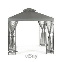 Gris 2.5m Jardin Gazebo Polenza Tente Patio Extérieur Ombre Sun Canopy Nets