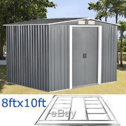 Gris Jardin Shed Apex Toit 8x10ft Outil De Rangement En Métal 2 Portes Avec Free Foundation