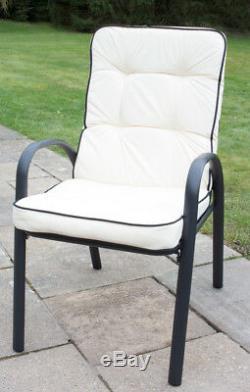 Hadleigh Extérieur Jardin Patio Dining Set 6 Parasol Noir Seater