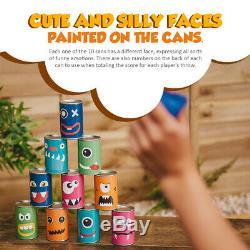 Hit The Can Garden Boîte De Jeux De Boîtes De Conserve Alley Family 10 Tins 3 Bean Bags Indoor Outdoor