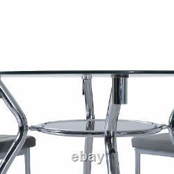 Homcom Table Table Set 1 Table 4 Chaises Cuisine Contemporaine Gris