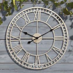 Horloge Murale Géante De Jardin Chiffre Romain En Métal Extérieur Grand Visage Rond 60cm Nouveau