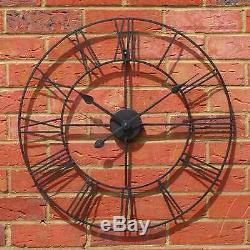Horloge Murale Squelette Jardin Chiffres Romains Grande Face Ouverte Métal 40cm Ronde