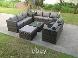 Intérieur Extérieur 9 Places En Rotin Sofa Set Ottoman Meubles De Jardin Set De Table Gris