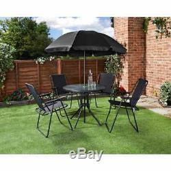 Jardin 6 Pc Ensemble De Patio Mobilier D'extérieur 4 Table Ronde En Verre Siège Avec Parasol