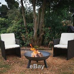 Jardin Avec Foyer Poignées De Transport, En Fonte Brazier Panier Flamme, 85.5cm