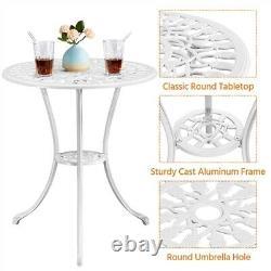 Jardin Bistro Set 3pcs Ensemble De Meubles De Jardin Chaises À Manger Et Table En Aluminium Blanc