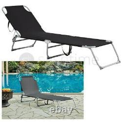 Jardin Chaise Pliante Sun Louncer Bed Outdoor Recliner Seat Beach Camping Patio