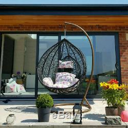 Jardin Egg Chaise En Rotin Hanging Balançoire Patio Floral Coussin Mobilier D'extérieur