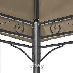 Jardin En Métal Gazebo 3x4m Patio Party Tent Khaki Marquee Canopy Pavilion Sidewall