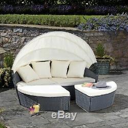 Jardin Équipement De Rotin Méridienne Mobilier D'extérieur Chaise Longue Lit Set Sofa & Marquises