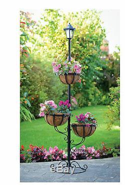 Jardin Extérieur 3 Niveau Énergie Solaire Élégante Fleur Jardinière Avec Led Lumière Blanche