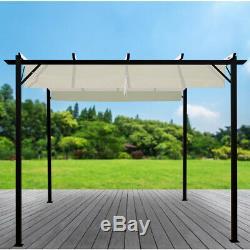 Jardin Extérieur Gazebo Pare-soleil Rétractable Toit Canopy Auvent Tente Pavillon