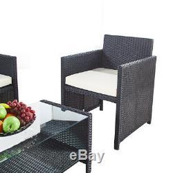Jardin Extérieur Noir En Rotin 3 Chaises Et Ensemble De Tables De Véranda