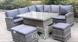 Jardin Gris Rattan Meubles Corner Canapé Dinning Set Rising Table 3 X Tabouret