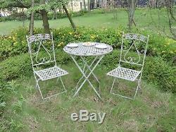 Jardin Métal Bistro Ensemble De Patio Mobilier D'extérieur 3 Chaises Table Piece Vintage