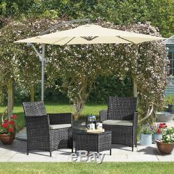 Jardin Meubles En Rotin Bistro Set 3pc Patio Extérieur Conservatoire Table Et Chaises