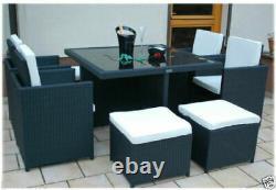 Jardin Meubles En Rotin Cube Set Chaises Table Patio Extérieur En Rotin Noir / Brun
