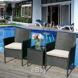 Jardin Meubles En Rotin Patio Coversation Avec Table Et Chaises 2-seater Set