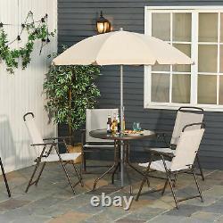 Jardin Patio Textilene Pliage Chaises Table Parasol Furniture Bistro Set Beige