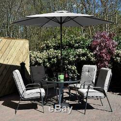 Jardin Salle À Dîner Gris Cadix Table 4 Chaises Parasol Basculement Nouveau Patio Meubles
