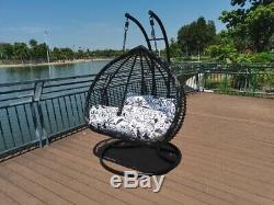 Jardin Suspendu En Rotin Chaise Swing Egg Avec Coussin (grand Lit Double De Places)