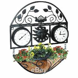 Jardinière De Jardin Suspendu Extérieur Avec Horloge Et Thermomètre