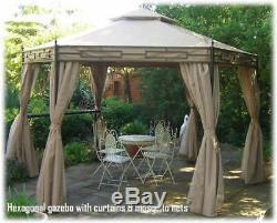 Kiosque De Jardin Luxueux Avec Rideaux Et Filets Hexagonal 6 Côtés